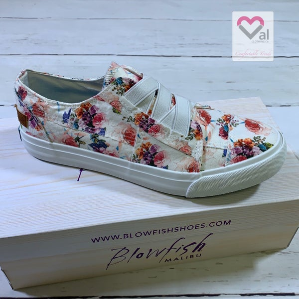 Blowfish Low Top Ivory Floral Canvas Sneaker