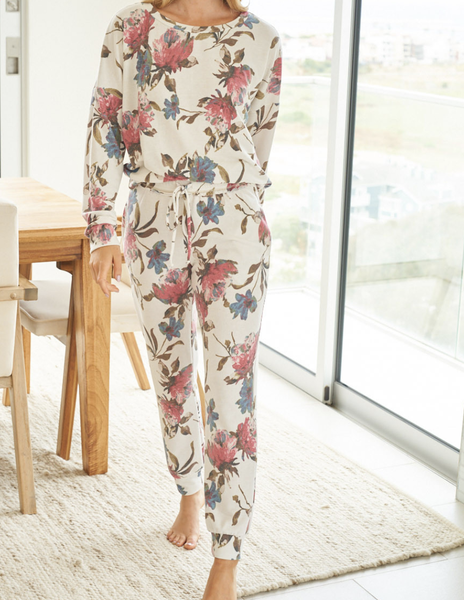 Full Length Lounge Jogger in Floral Print