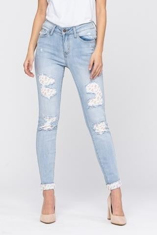 Judy Blue Mid Rise Skinny Floral Patch Jeans