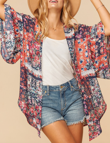 Bell Sleeve Patchwork Open Front Kimono