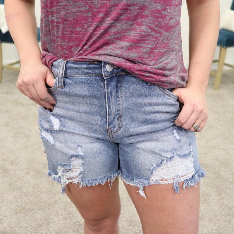 Judy Blue High Rise Cutoff Destroyed Shorts