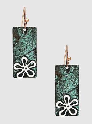 Floral Flower Patina Metal Rectangle Bar Dangle Drop Earrings