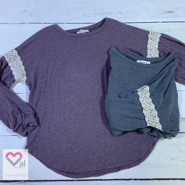 Long Bubble Sleeve Solid Top with Lace Contrast Detail