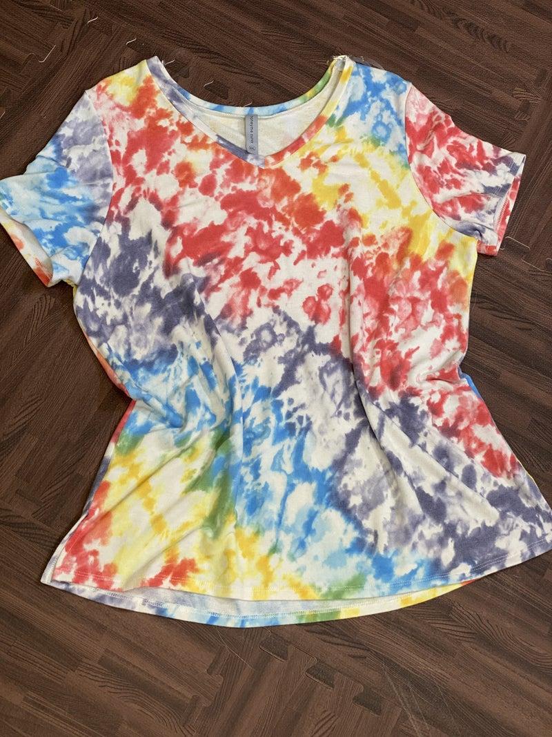 Short Sleeve V Neck Rainbow Tie Dye Top