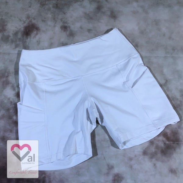 Solid Athletic Shorts with Side Pockets - White