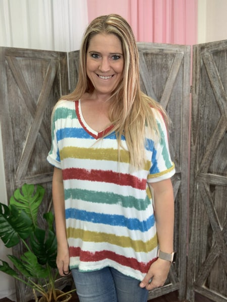 Short Rolled Sleeve Bright Stripe Top