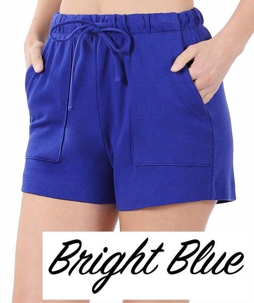 Cotton Drawstring Waist Shorts with Pocket Detail