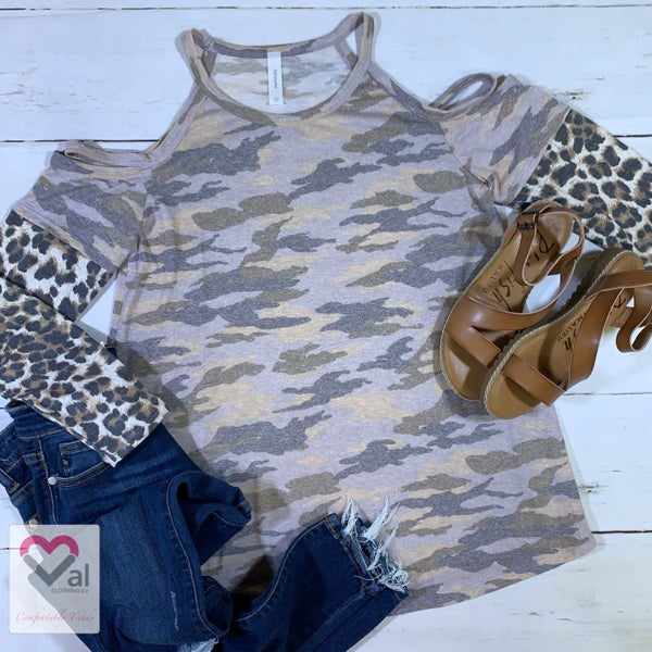 Long Leopard Print Sleeve Camo Strappy Cold Shoulder Top