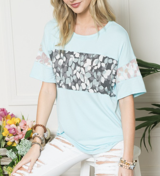 Short Sleeve Solid Top with Contrast Detail