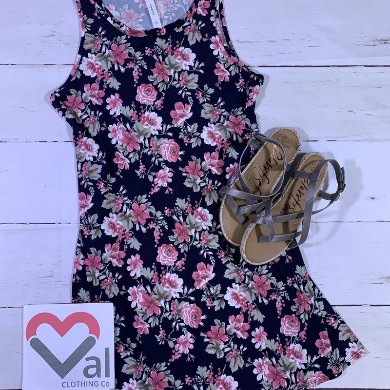 Sleeveless Floral Printed Dress with Pockets and Tie Detail