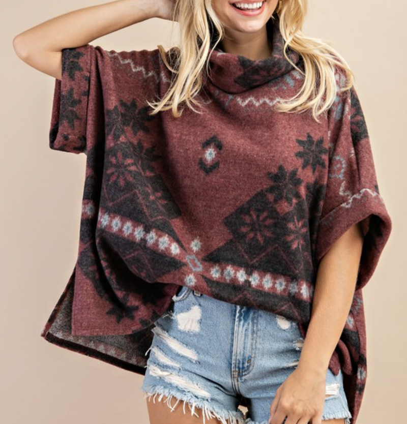 Short Cuffed Sleeve Cowl Neck Winter Print Top