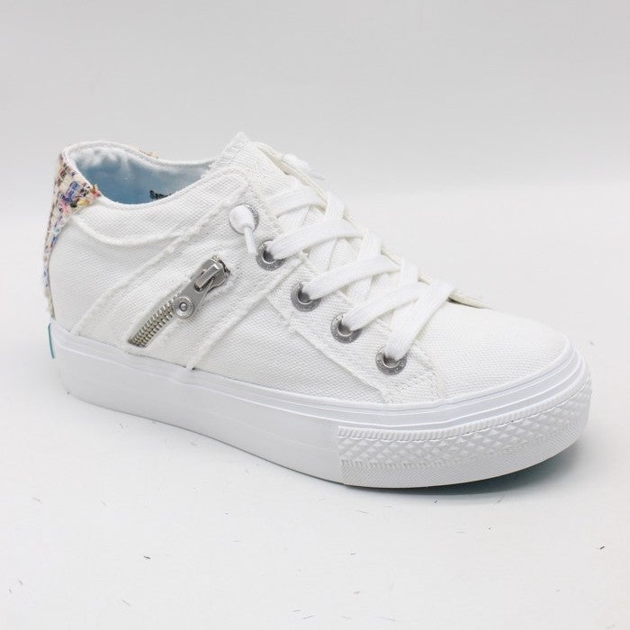 Blowfish Mid-Top Hidden Wedge White Canvas Sneaker with Weave Detail