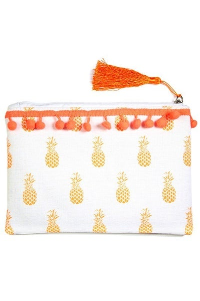 Woven Printed Clutch Bag with PomPom Detail