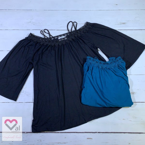 3/4 Sleeve Off Shoulder Top with Strappy Lace Detail