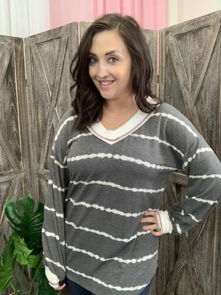 Long Sleeve V Neck Tie Dye Top with Trim Detail