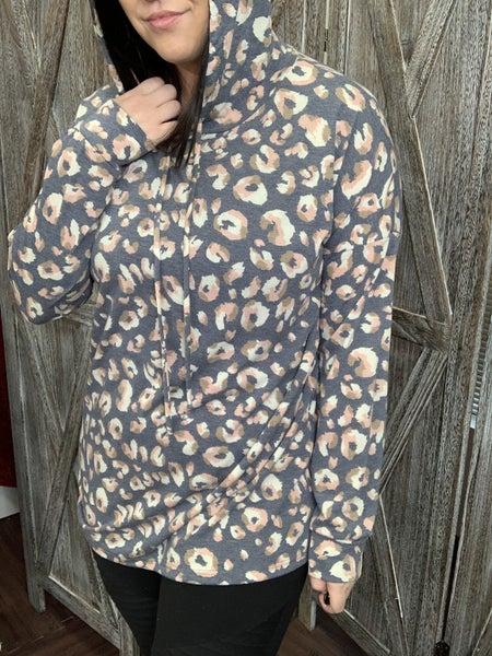 Long Sleeve Leopard Print Hoodie Top