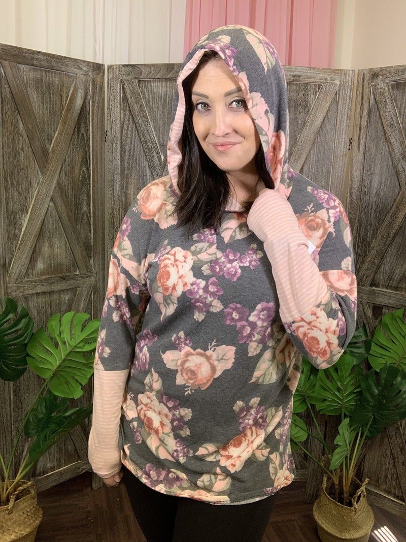 Long Sleeve Floral Print Hoodie Top with Stripe Detail