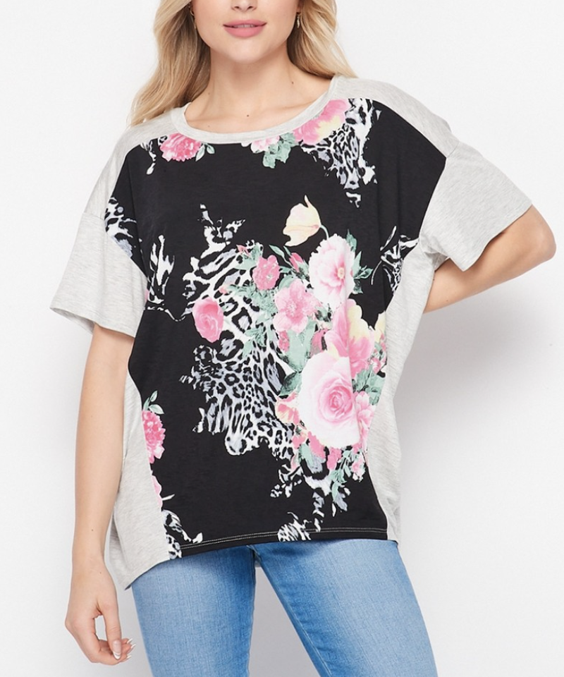 Short Sleeve Animal Floral Top with Solid Detail