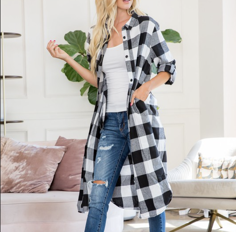 Long Sleeve Button Down Plaid Tunic Top