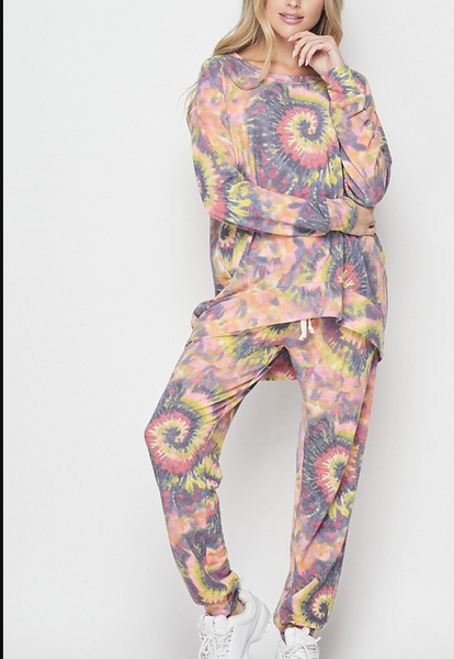 Long Sleeve Top + Jogger Spiral Tie Dye Full Lounge Set