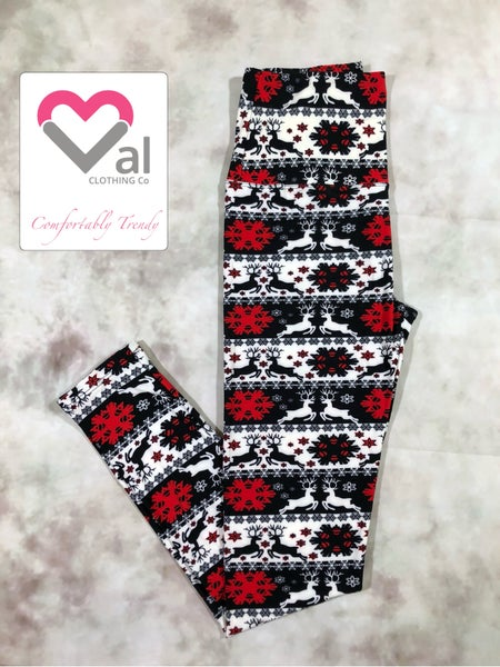 Black, White, and Red Reindeer and Snowflake Holiday Leggings