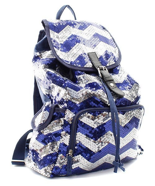 Large Chevron Sequin Backpack