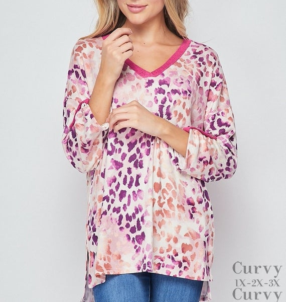 3/4 Rolled Sleeve Leopard Top with Trim Detail