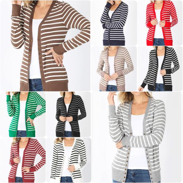 Long Sleeve Striped Print Snap Button Cardigan