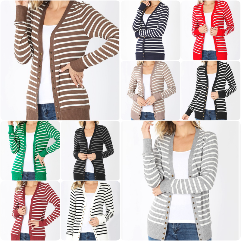 Long Sleeve Striped Print Snap Button Cardigan