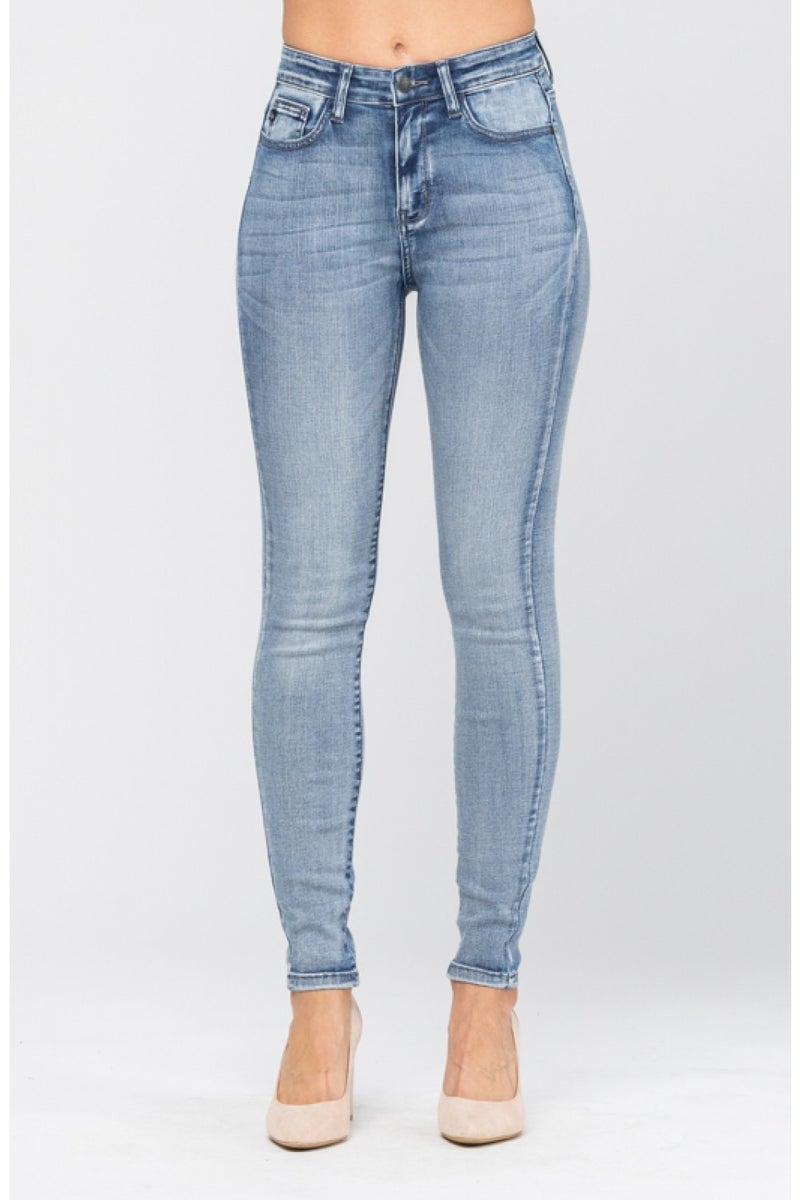 Judy Blue High Rise Hand Sand Skinny Jeans