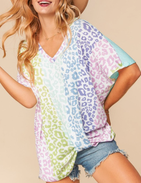 Short Sleeve Ombre Leopard & Solid Top