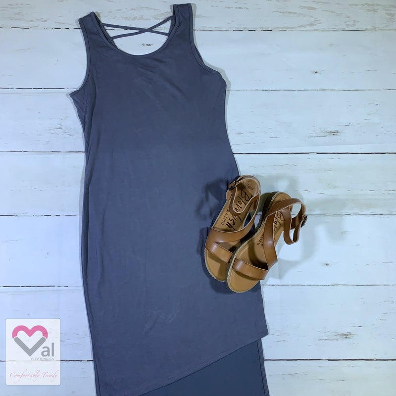 Sleeveless Solid Dress with Asymmetric Hem