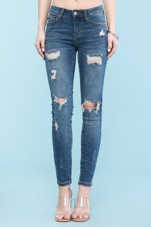 Judy Blue Mid Rise Distressed Skinny Jeans