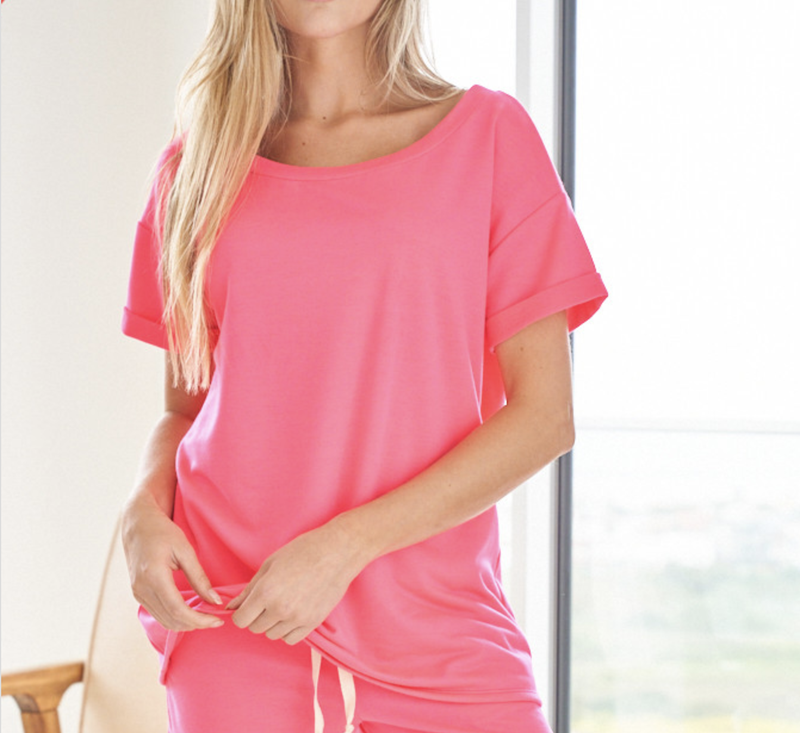 Short Sleeve Boat Neck Solid Top