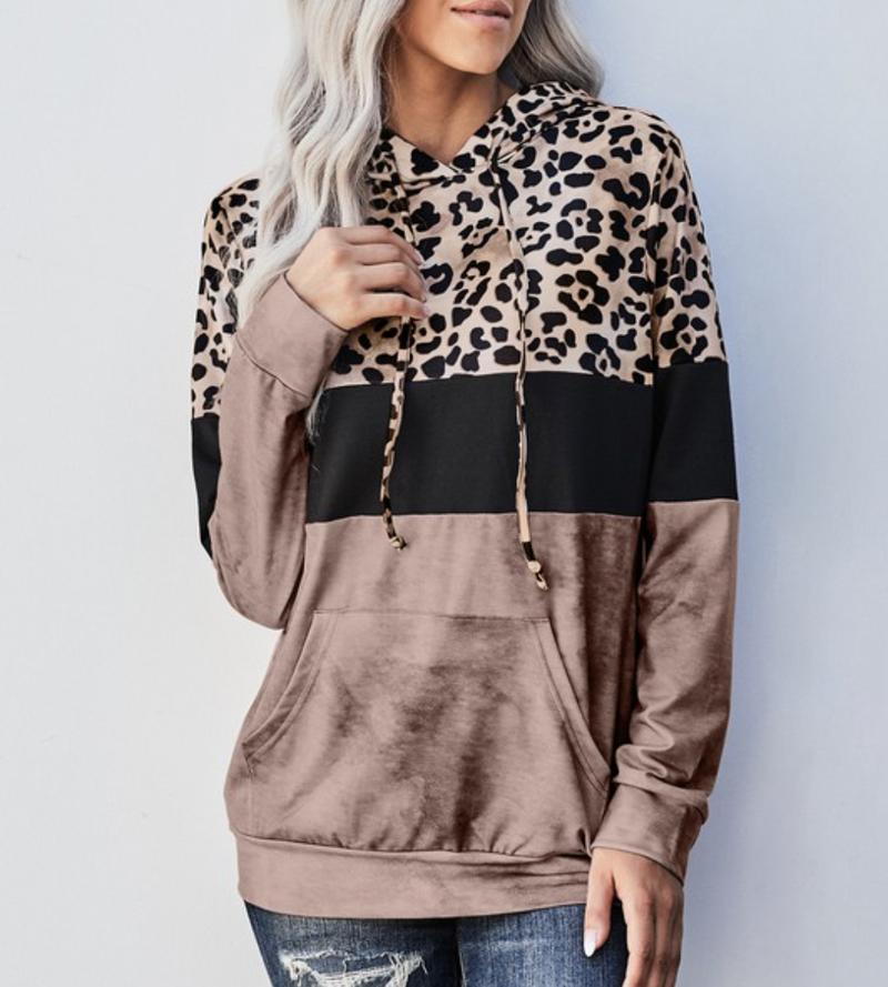 Long Sleeve Leopard and Solid Colorblock Top