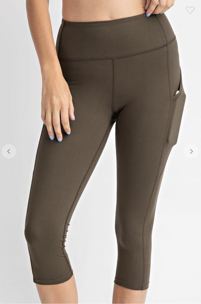 Solid Olive 7/8 Length Capri Pocket Leggings