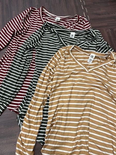 Long Sleeve V Neck Striped Top