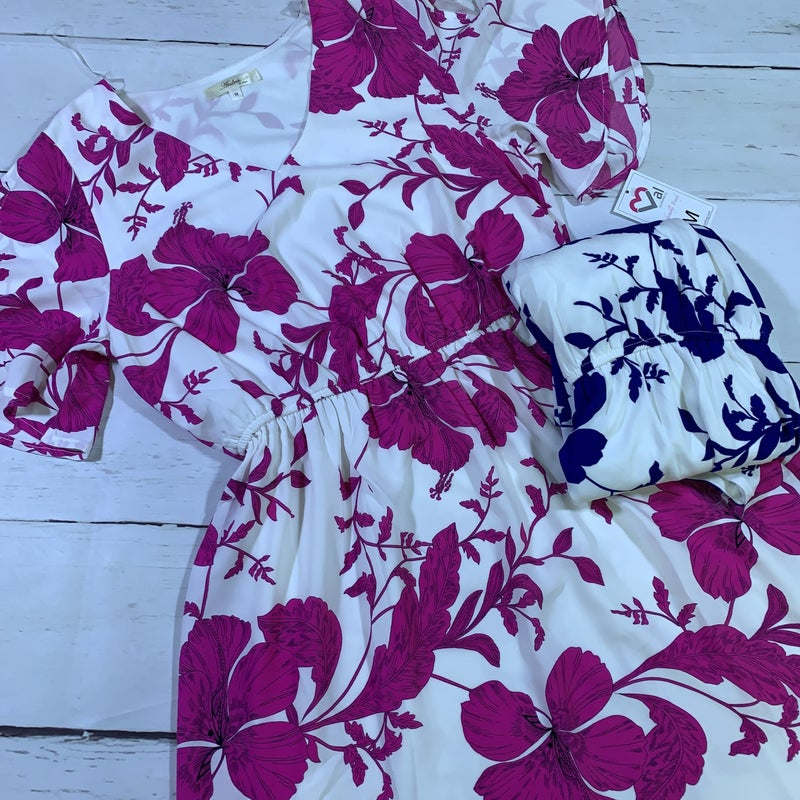 Short Sleeve Floral Print Dress with Elastic Waist