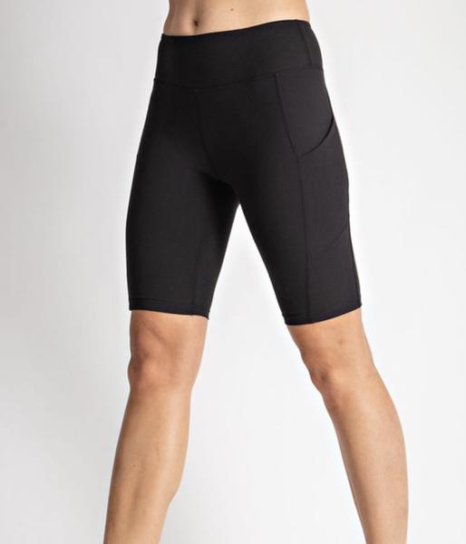 Solid Biker Shorts with Pocket Detail