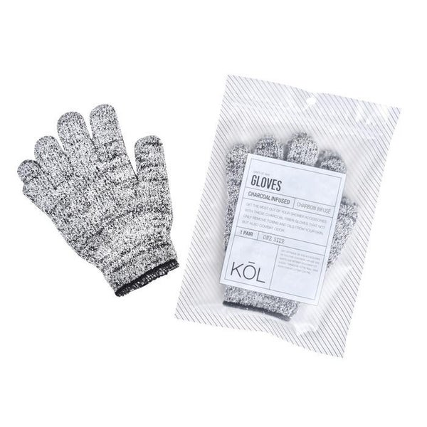 Kol Bamboo Charcoal Exfoliating Shower Gloves