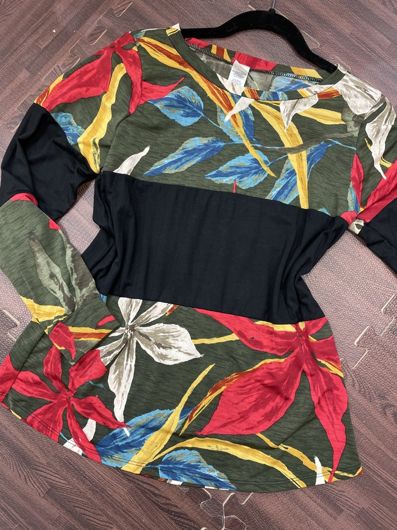 Long Sleeve Floral and Solid Colorblock Top