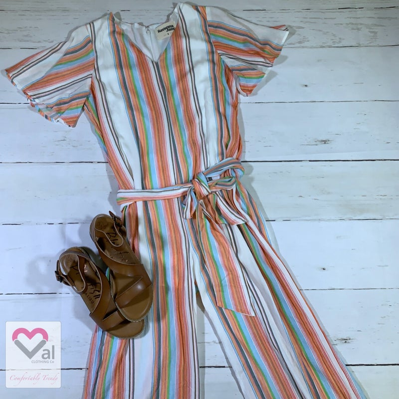 Short Sleeve Striped Jumpsuit with Tie