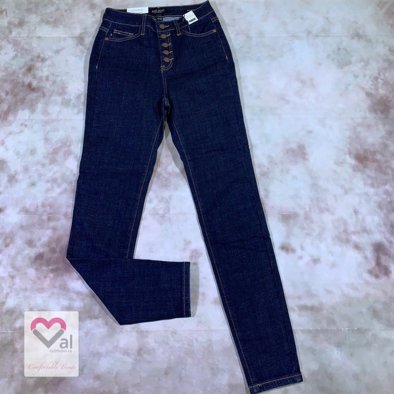Judy Blue Dark Wash High Waisted Button Fly Skinny Jeans