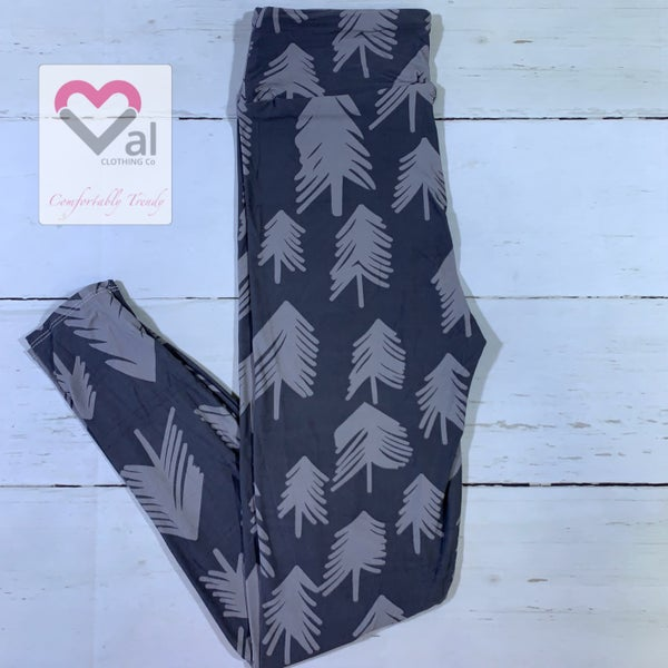 Grey Pine Tree Holiday Printed Leggings