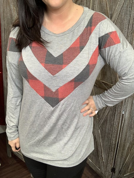 Long Sleeve Solid and Plaid Chevron Print Top