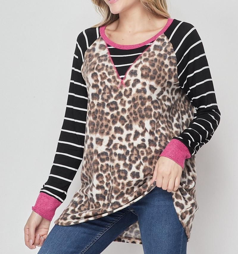 Long Striped Sleeve Leopard Print Top