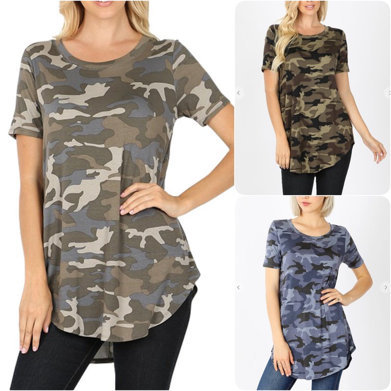 Short Sleeve Camo Printed Swing Top