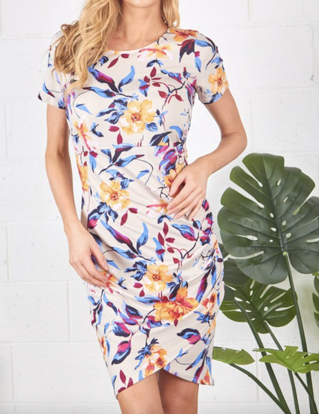 Short Sleeve Floral Dress with Ruched Detailing