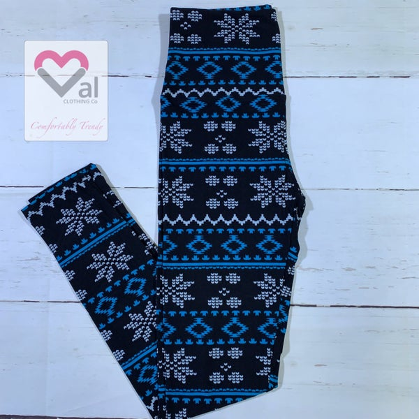 Pixelated Snowflake Printed Leggings