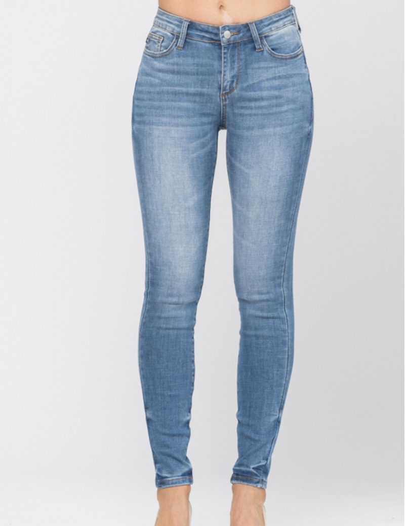 Judy Blue Mid Rise Pin-Tacked Skinny Jeans